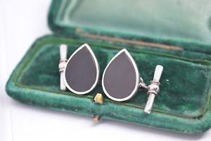 【送料無料】メンズアクセサリ― ビンテージアールデコスターリングシルバーオニキスカフリンクスvintage art deco sterling silver cufflinks with an onyx insert b581