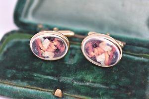 【送料無料】メンズアクセサリ― ビンテージスターリングシルバーアールデコインサートカフリンクスvintage sterling silver cufflinks with an art deco coloured inserts g212