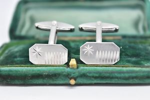 【送料無料】メンズアクセサリ― ビンテージスターリングシルバーアールデコデザインカフリンクスvintage sterling silver cufflinks with an art deco design g40