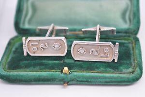 【送料無料】メンズアクセサリ― ビンテージアールデコスターリングシルバーカフリンクスvintage sterling silver cufflinks with an art deco egyption design b623