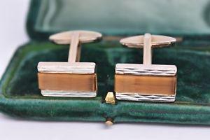 【送料無料】メンズアクセサリ― ビンテージアールデコスターリングシルバーキャッツアイカフリンクスvintage art deco sterling silver cufflinks with a tigers eye insert b971