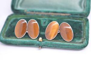 【送料無料】メンズアクセサリ― ビンテージスターリングシルバーアールデコキャッツアイカフリンクスvintage sterling silver cufflinks with an art deco tigers eye insert c644
