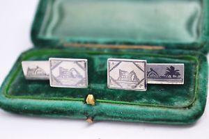 【送料無料】メンズアクセサリ― ビンテージスターリングシルバーエナメルデザインカフリンクスvintage sterling silver cufflinks with an unusual enamel design b208