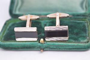 【送料無料】メンズアクセサリ― ビンテージスターリングシルバーアールデコオニキスカフリンクスvintage sterling silver cufflinks with an art deco onyx insert c628