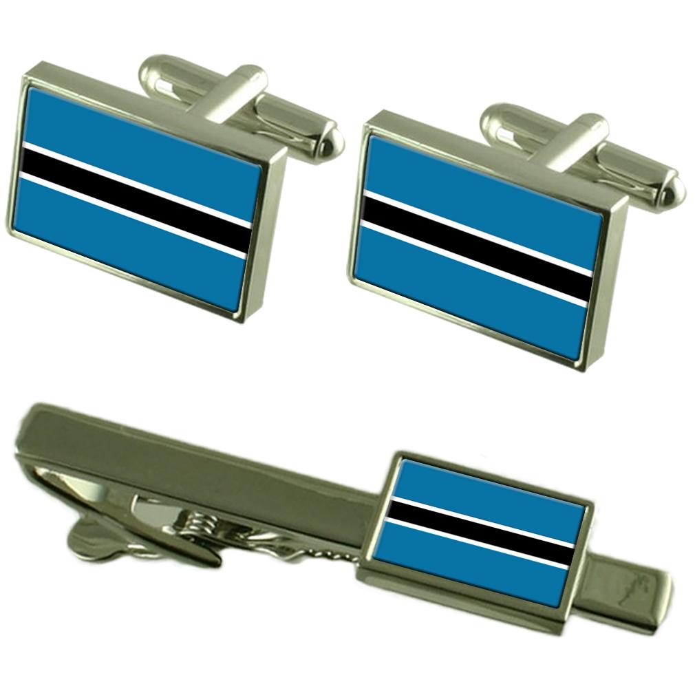 【送料無料】メンズアクセサリ― ボツワナカフスボタンタイクリップマッチングボックスセットbotswana flag cufflinks tie clip matching box gift set
