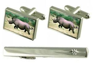 【送料無料】メンズアクセサリ― タイクリップサイアフリカカフスボタンセットgift set tie clip rhino african cufflinks