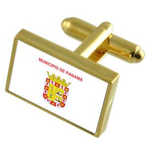 【送料無料】メンズアクセサリ― パナマパナマゴールドフラッグカフスボタンボックスpanama city panama gold flag cufflinks engraved box
