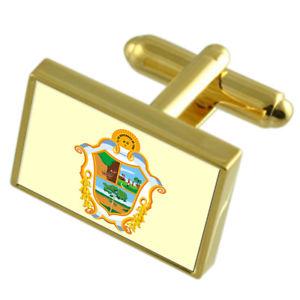 【送料無料】メンズアクセサリ― マナウスブラジルゴールドフラッグカフスボタンボックスmanaus city brazil gold flag cufflinks engraved box