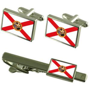 【送料無料】メンズアクセサリ― フロリダカフスボタンタイクリップマッチングボックスセットflorida flag cufflinks tie clip matching box gift set
