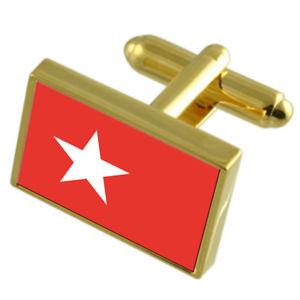 【送料無料】メンズアクセサリ― マーストリヒトシティオランダゴールドフラッグカフスボタンボックスmaastricht city netherlands gold flag cufflinks engraved box