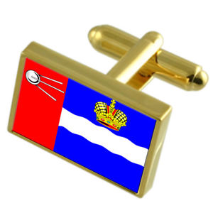 【送料無料】メンズアクセサリ― ロシアゴールドフラッグカフスボタンボックスkalvga city russia gold flag cufflinks engraved box