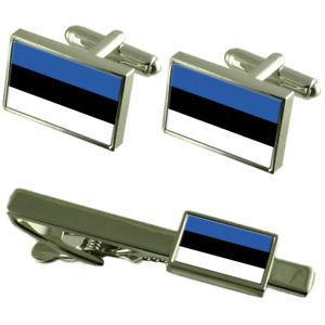 【送料無料】メンズアクセサリ― エストニアカフスボタンタイクリップマッチングボックスセットestonia flag cufflinks tie clip matching box gift set