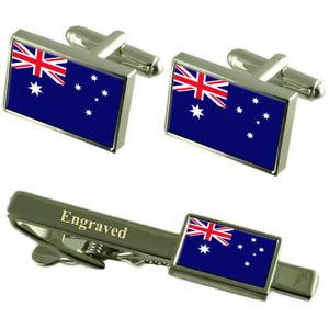 【送料無料】メンズアクセサリ― ココスカフスボタンタイクリップマッチングボックスcocos islands flag cufflinks engraved tie clip matching box set