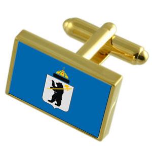 【送料無料】メンズアクセサリ― ヤロスラロシアゴールドフラッグカフスボタンボックスyaroslavl city russia gold flag cufflinks engraved box