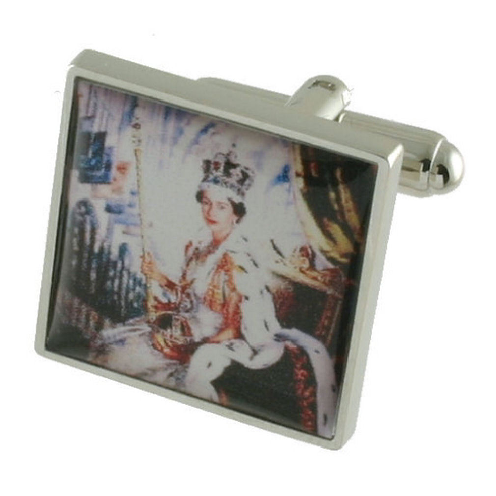 【送料無料】メンズアクセサリ― カフリンクスボックスオンcuff links queen coronation painting engraved personalised box