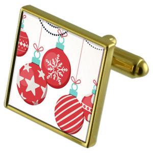 【送料無料】メンズアクセサリ― クリスマスツリーカフスボタンクリスタルタイクリップセットchristmas tree bauble goldtone cufflinks crystal tie clip gift set