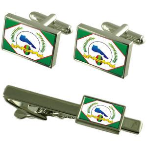 【送料無料】メンズアクセサリ― シティエスピリトサントカフスボタンタイクリップボックスセットjaguare city espirito santo state flag cufflinks tie clip box gift set
