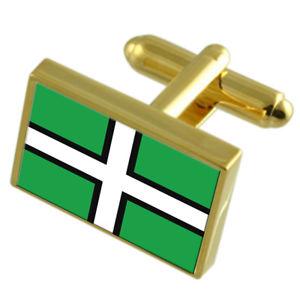 【送料無料】メンズアクセサリ― デヴォンイングランドゴールドフラッグカフスボタンボックスdevon county england gold flag cufflinks engraved box