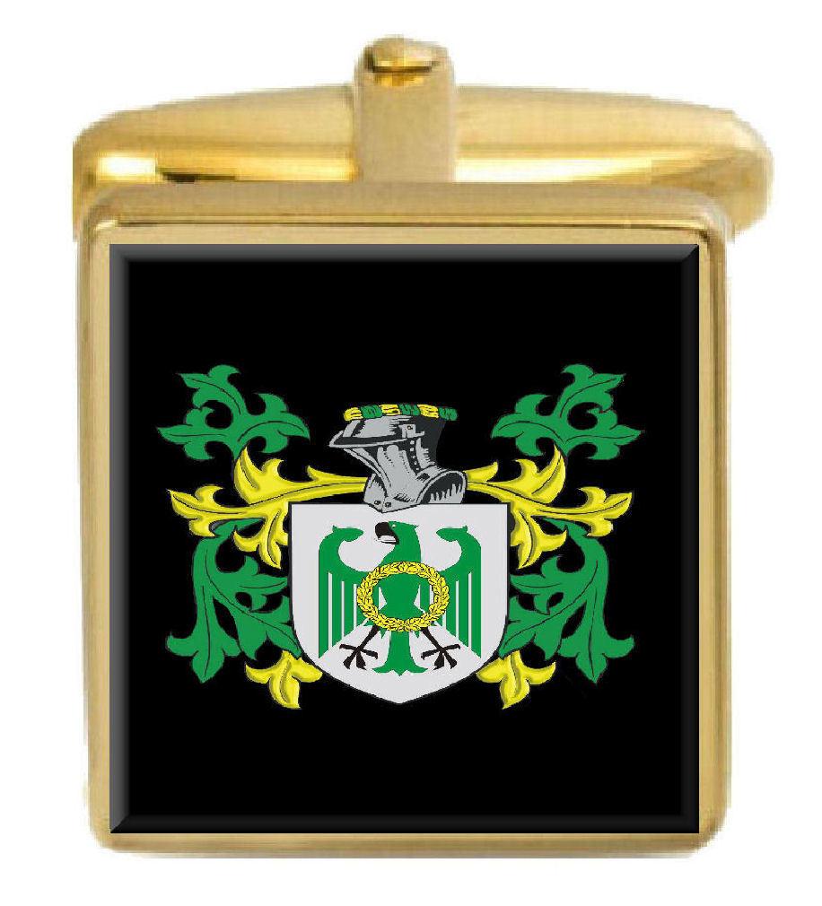 【送料無料】メンズアクセサリ― イギリスカフスボタンボックスコートjeicyll england family crest surname coat of arms gold cufflinks engraved box