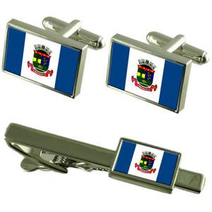 【送料無料】メンズアクセサリ― シティエスピリトサントカフスボタンタイクリップボックスセットlinhares city espirito santo state flag cufflinks tie clip box gift set