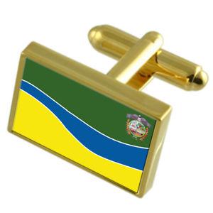 【送料無料】メンズアクセサリ― エクアドルゴールドフラッグカフスボタンボックスpuyo city ecuador gold flag cufflinks engraved box
