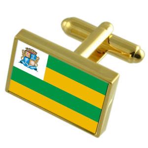 【送料無料】メンズアクセサリ― アラカジュブラジルゴールドフラッグカフスボタンボックスaracaju city brazil gold flag cufflinks engraved box