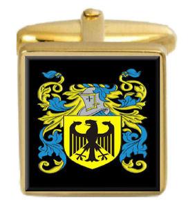 【送料無料】メンズアクセサリ― スコットランドカフスボタンボックスコートlandrum scotland family crest surname coat of arms gold cufflinks engraved box