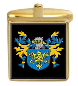 【送料無料】メンズアクセサリ― イギリスカフスボタンボックスコートyoumans england family crest surname coat of arms gold cufflinks engraved box