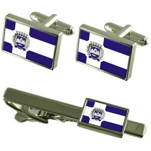 【送料無料】メンズアクセサリ― シティエスピリトサントカフスボタンタイクリップボックスセットpiuma city espirito santo state flag cufflinks tie clip box gift set