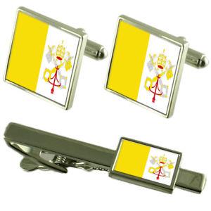【送料無料】メンズアクセサリ― フラグカフスボタンタイクリップマッチングボックスセットholy see flag cufflinks tie clip matching box gift set