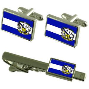 【送料無料】メンズアクセサリ― シティミナスジェライスカフスボタンタイクリップボックスセットitueta city minas gerais state flag cufflinks tie clip box gift set