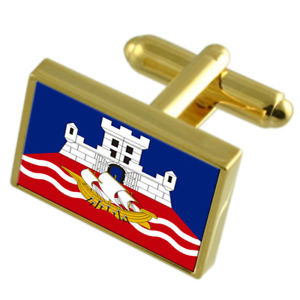 【送料無料】メンズアクセサリ― ベオグラードセルビアゴールドフラッグカフスボタンボックスbelgrade city serbia gold flag cufflinks engraved box