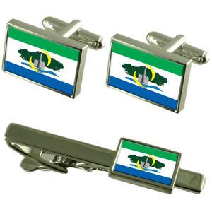 【送料無料】メンズアクセサリ― セラシティエスピリトサントカフスボタンタイクリップボックスセットserra city espirito santo state flag cufflinks tie clip box gift set