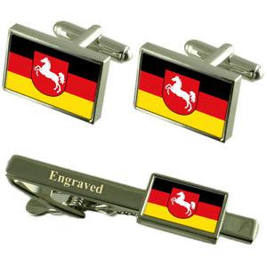 【送料無料】メンズアクセサリ― ニーダーザクセンカフスボタンタイクリップマッチングボックスlower saxony civil flag cufflinks engraved tie clip matching box set