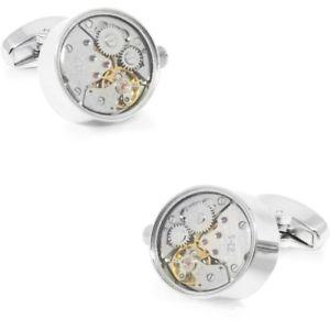 【送料無料】メンズアクセサリ― カフスボタンworking watch movement steampunk cufflinks silver
