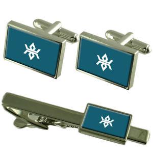 【送料無料】メンズアクセサリ― フラグカフスボタンボックスネクタイセットクリップflag iwate prefecture cufflinks box gift set matching tie clip 55mm