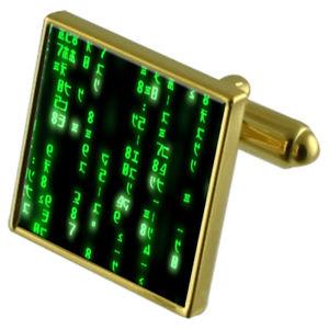 【送料無料】メンズアクセサリ― マトリックスコンピュータコードカフスボタンクリスタルタイクリップセットmatrix computer code goldtone cufflinks crystal tie clip gift set