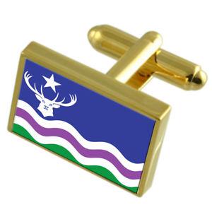【送料無料】メンズアクセサリ― エクスムーアイングランドゴールドフラッグカフスボタンボックスexmoor county england gold flag cufflinks engraved box