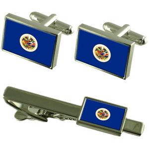 【送料無料】メンズアクセサリ― フラグカフスボタンタイクリップマッチングボックスセットoas international organization flag cufflinks tie clip matching box gift set