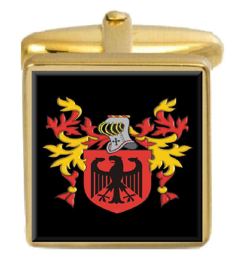 【送料無料】メンズアクセサリ― スリーパーイングランドカフスボタンボックスコートsleeper england family crest surname coat of arms gold cufflinks engraved box