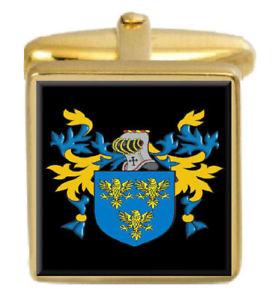 【送料無料】メンズアクセサリ― イギリスカフスボタンボックスコートcroxton england family crest surname coat of arms gold cufflinks engraved box