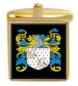 【送料無料】メンズアクセサリ― スコットランドカフスボタンボックスコートfuddie scotland family crest surname coat of arms gold cufflinks engraved box