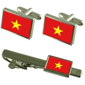 【送料無料】メンズアクセサリ― ナムフラグカフスボタンタイクリップマッチングボックスセットvit nam flag cufflinks tie clip matching box gift set