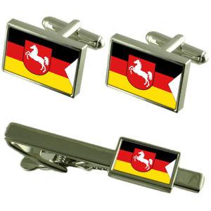 【送料無料】メンズアクセサリ― ニーダーザクセンカフスボタンタイクリップマッチングボックスセットlower saxony state flag cufflinks tie clip matching box gift set