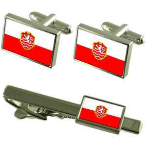 【送料無料】メンズアクセサリ― カルロヴィヴァリチェコカフスボタンタイクリップボックスセットkarlovy vary city czech republic flag cufflinks tie clip box gift set