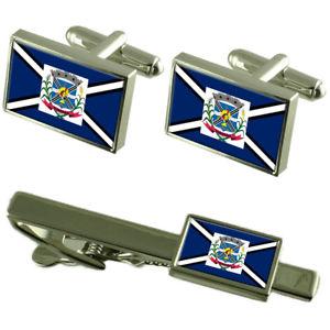 【送料無料】メンズアクセサリ― サンタカタリーナカフスボタンタイクリップボックスセットtubarao city santa catarina state flag cufflinks tie clip box gift set