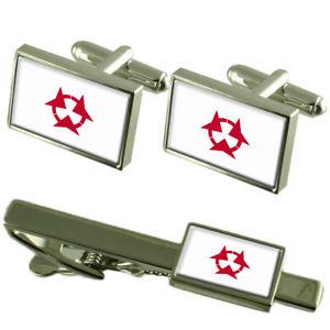 【送料無料】メンズアクセサリ― フラグカフスボタンボックスネクタイセットクリップflag oita prefecture cufflinks box gift set matching tie clip 55mm