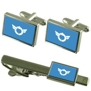 【送料無料】メンズアクセサリ― フラグカフスボタンボックスネクタイセットクリップflag shiga prefecture cufflinks box gift set matching tie clip 55mm