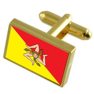 【送料無料】メンズアクセサリ― シシリーイタリアゴールドフラッグカフスボタンボックスsicily region italy gold flag cufflinks engraved box