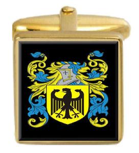 【送料無料】メンズアクセサリ― ガーウッドイングランドカフスボタンボックスコートgarwood england family crest surname coat of arms gold cufflinks engraved box